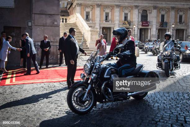 The Mayor of Rome Virginia Raggi receives in the Royal King of Willem Alexander and Queen Màxima on their official visit to Italy, on June 20, 2017.