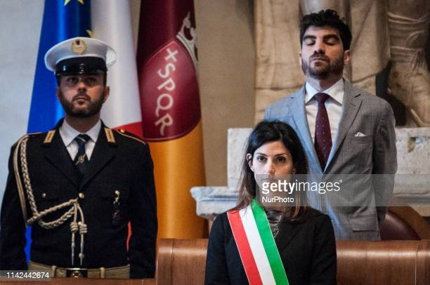 The Mayor of Rome Virginia Raggi speaks at the ceremony celebrating the 2772nd Christmas of Rome Palazzo Senatorio Aula Giulio Cesare postponed for...