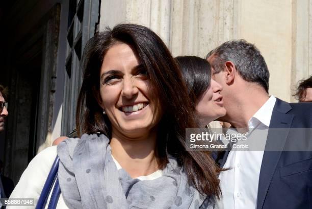 The Mayor of Rome Virginia Raggi the Mayor of Naples Luigi De Magistris and the Mayor of Turin Chiara Appendino leave Palazzo Chigi after the meeting...