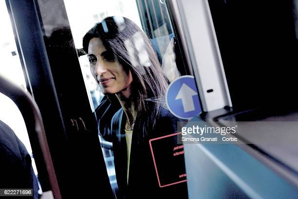The mayor of Rome Virginia Raggi traveling by bus during the presentation of the first 25 of 150 new buses purchased from the Capitolon November 9...