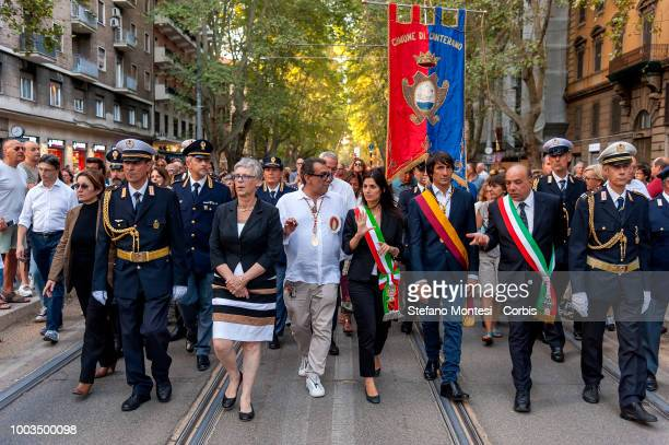 The Mayor of Rome Virginia Raggi with Guillermo Mariotto an illustrious designer during the Solemn celebrations and procession in honor of Madonna...