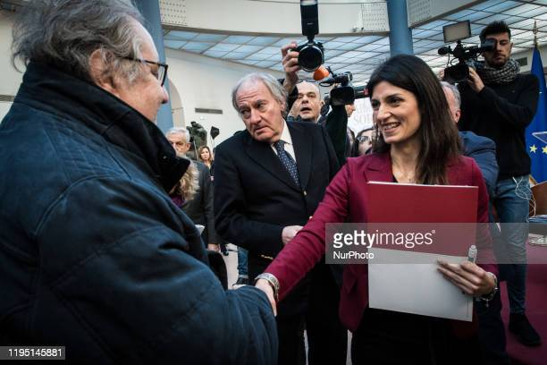 The Mayor of Rome Virginia Raggi with Vincenzo Mollica durinhig the Press conference for the presentation of the exhibition 'Alberto Sordi', curated...