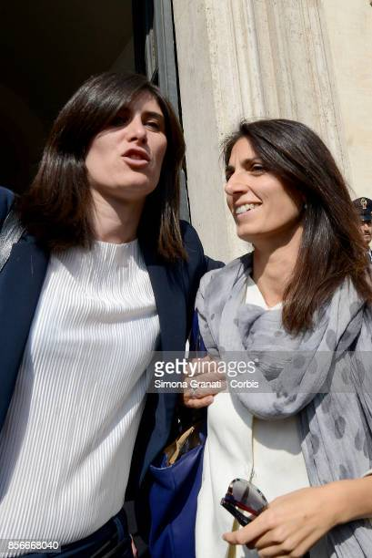 The Mayor of Rome Virginia Raggiand the Mayor of Turin Chiara Appendino leave Palazzo Chigi after the meeting with the President of the Council of...