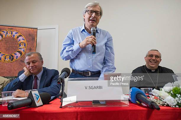 The Mayor of Rossano Stefano Mascaro Vittorio Sgarbi famous Art Critic and the bishop Giuseppe Satriano during the press conference for the return of...