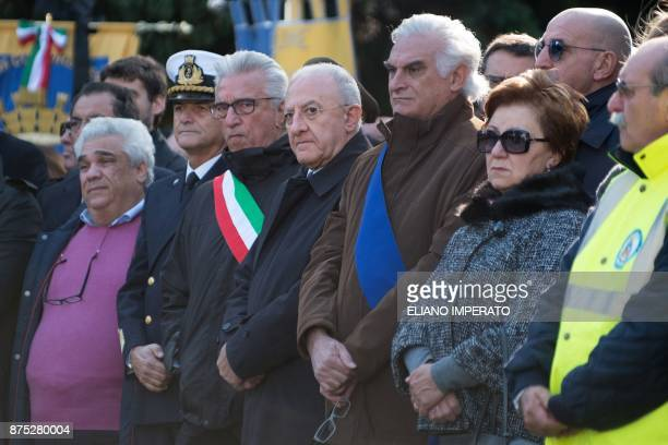 The mayor of Salerno Vincenzo Napoli ad Vincenzo De Luca president of the Campania region attend the inter religious funeral service for 26 teenage...