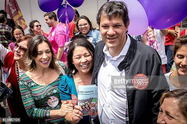 The mayor of Sao Paulo, Fernando Haddad is seen during the final day of campaign at Patio do Colegio in Sao Paulo, Brazil on September 30, 2016. The...