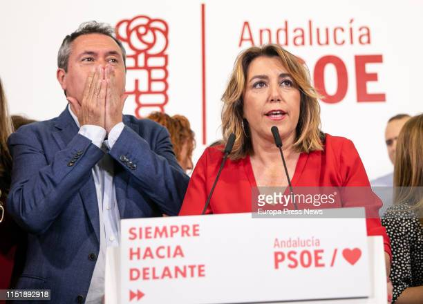 The mayor of Sevilla and candidate of PSOE to the mayoralty Juan Espadas and the regional secretary general of PSOE Susana Diaz are seen in the...