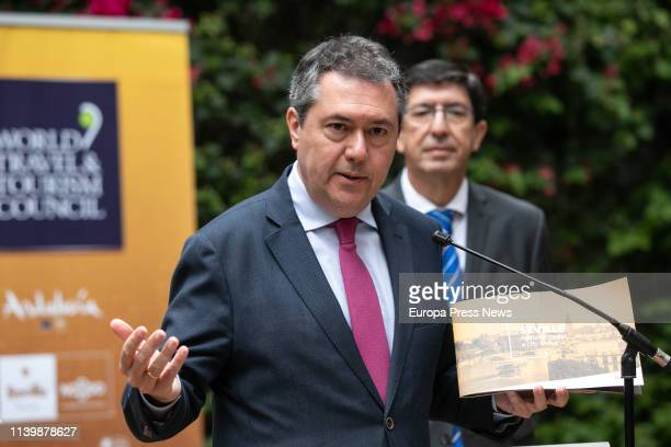 The mayor of Sevilla, Juan Espadas , and the Andalusian vice president, Juan Marin , are seen during the presentation of the World Tourism Summit...