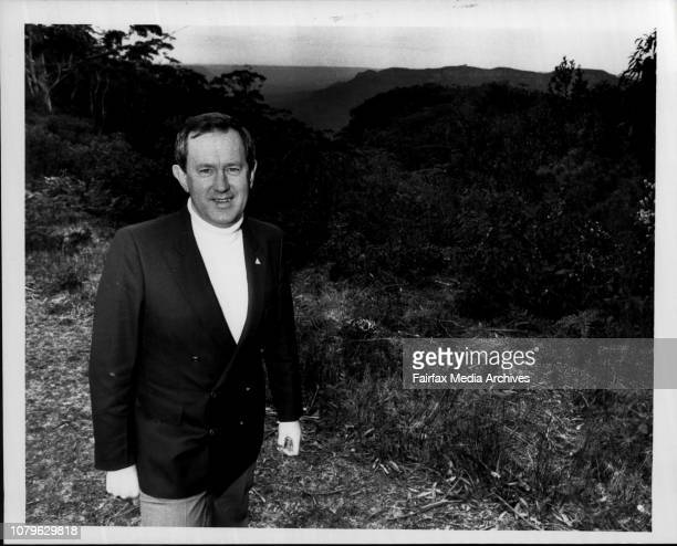The Mayor of the Blue Mts Ald Peter Quirk with the Jamison Valley in the background August 24 1984