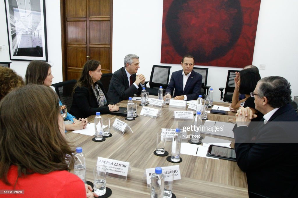 Mayor of Sao Paulo Joao Doria meets the UN Commissioner Filippo Grandi : News Photo