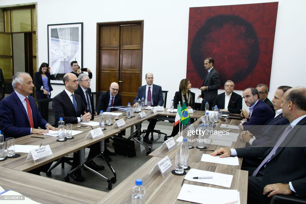 The mayor of the city of São Paulo João Doria and the Italian minister of foreign affairs and international cooperation Angelino Alfano, during a meeting at the headquarters of the city of São Paulo, Brazil, in the central region, on Wednesday. February 21, 2018.