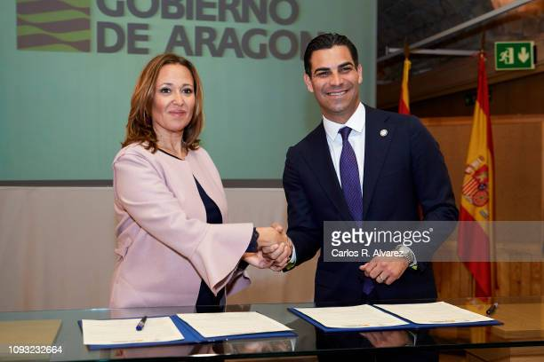 The mayor of the Miami city Francis Suarez and the Councilor of Culture of the Government of Aragon Mayte Perez sign a Treaty of Friendship Miami...