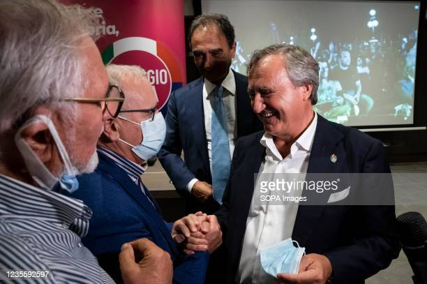 The Mayor of Venice, Luigi Brugnaro greets people after the press conference. At the regional electoral campaign, Mayor of Venice and President of...