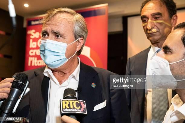 The mayor of Venice, Luigi Brugnaro , seen during a press conference with Catanzaro's mayor Sergio Abramo . At the regional electoral campaign, Mayor...