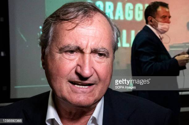 The mayor of Venice, Luigi Brugnaro, speaks to press during press conference in Catanzaro. At the regional electoral campaign, Mayor of Venice and...