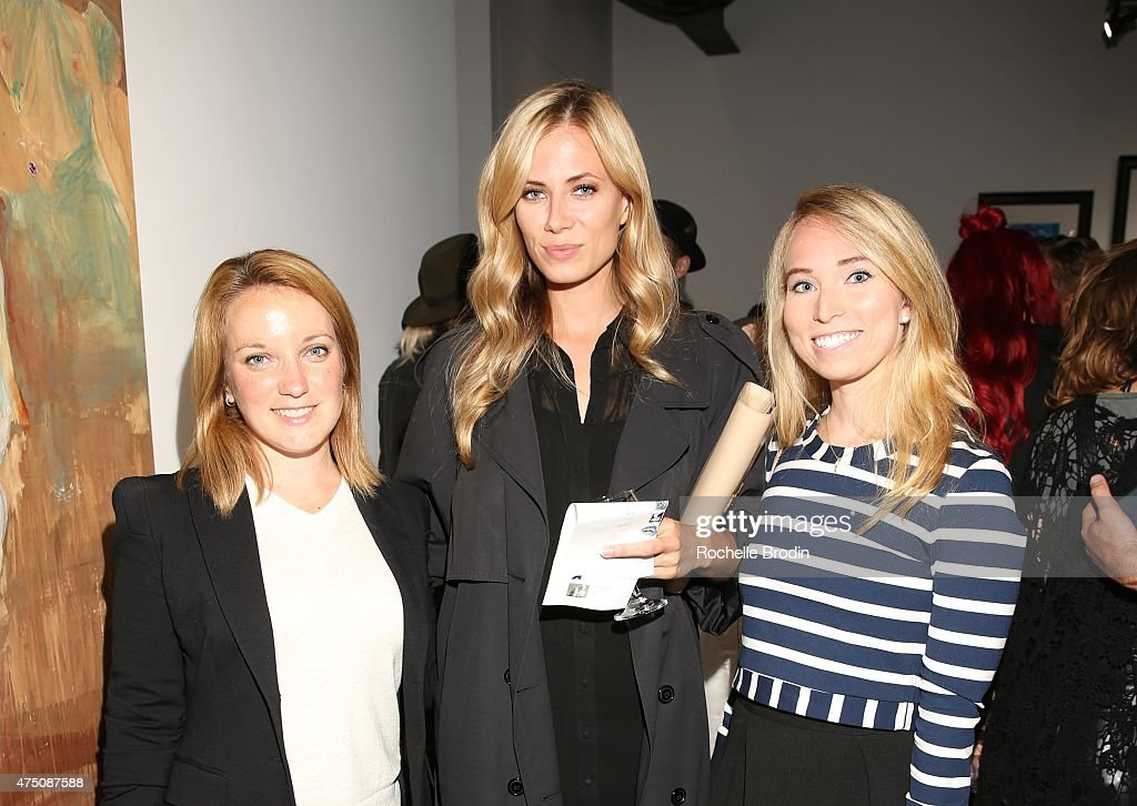 The Mayor of West Hollywood Lindsey Horvath, Elizabeth Mannet and Kathryn Page attend the 'Blue Nudes' exhibtion at De Re Gallery on May 28, 2015 in West Hollywood, California.