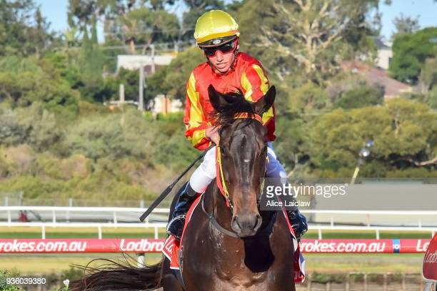 The Mayor ridden by Brandon Stockdale returns to scale after winning the United Petroleum Handicap at Ladbrokes Park Hillside Racecourse on March 21...