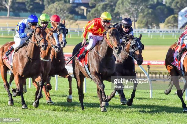 The Mayor ridden by Brandon Stockdale wins the United Petroleum Handicap at Ladbrokes Park Hillside Racecourse on March 21 2018 in Springvale...