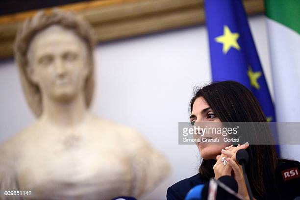 The mayor Virginia Raggi officially announces No to the candidature of Rome for the 2024 Olympics during a press conference in the Capitol with...