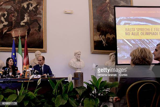 The mayor Virginia Raggi officially the No to the candidature of Rome for the 2024 Olympics during a press conference in the Capitol with Daniele...