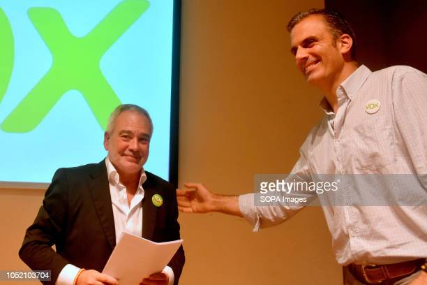 The mayoral candidate for the municipality of Sant VIcents dels Horts Santos Marteo next to the General Section of Vox Javier Ortega seen speaking at...