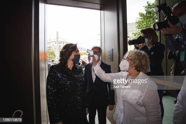 The Mayoress of Barcelona Ada Colau goes through temperature control at the arrival of the Institutional Opening of Casa Seat on June 16 2020 in...