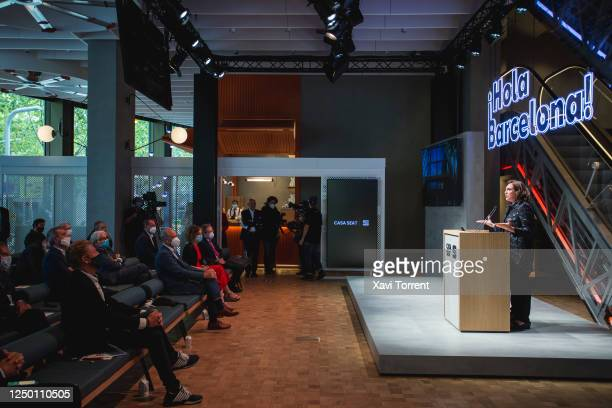 The Mayoress of Barcelona Ada Colau speaks to attendees at the Institutional Opening of CASA SEAT on June 16 2020 in Barcelona Spain SEAT has...