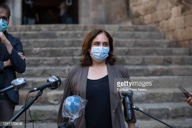 The mayoress of Barcelona Ada Colau speaks to the media at the exit of the Museu d'Història de Barcelona in her visit to the facilities of that...