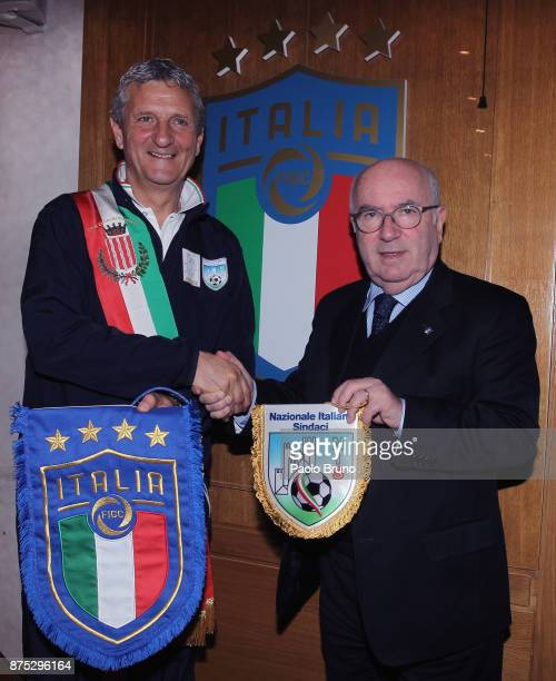 The Mayors national team President Mirko Patron and FIGC President Carlo Tavecchio pose during the meeting on November 17 2017 in Rome Italy