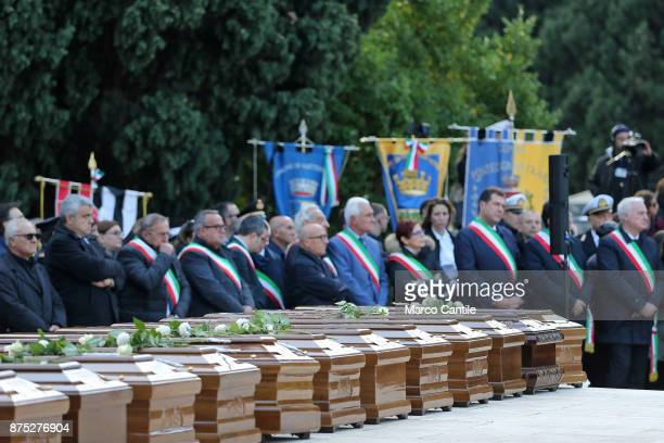 The mayors of Salernitan municipalities during the funeral of the 28 migrant women who died in a shipwreck as they sought to reach Italy
