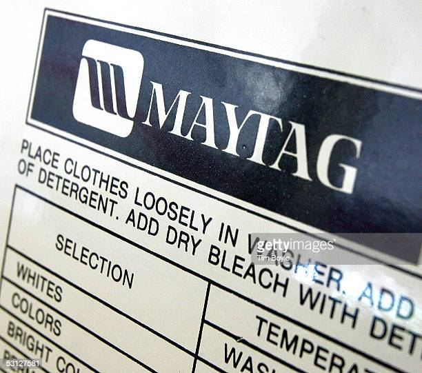 The Maytag logo is seen on a commercial clothes washer in a laundromat June 22 2005 in Glenview Illinois Chinese appliance maker Haier has shown...