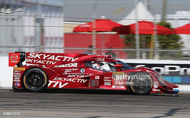 The Mazda Deisel Sylvain Tremblay and Tom Long is shown in action during the 12 Hours of Sebring at Sebring International Raceway on March 15 2014 in...