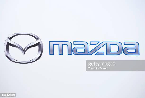 The Mazda Motor Co logo is seen during a joint press conference with Toyota Motor Co on August 4 2017 in Tokyo Japan Toyota and Mazda announced to...