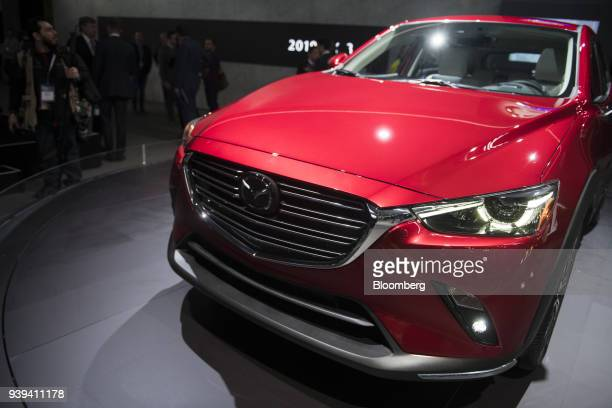 The Mazda Motor Corp CX3 sports utility vehicle is displayed during the 2018 New York International Auto Show in New York US on Wednesday March 28...