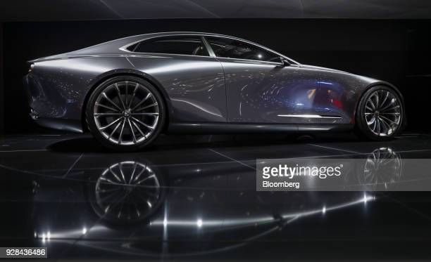 The Mazda Motor Corp Vision Coupe concept automobile stands on display on day two of the 88th Geneva International Motor Show in Geneva Switzerland...