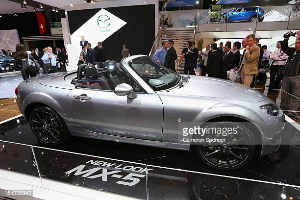 The Mazda MX5 Australian premiere during the Australian International Motor Show media preview at the Sydney Convention Exhibition Centre on October...
