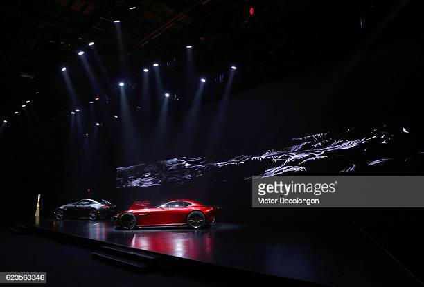 The Mazda MX5 RF far left and the Mazda RXVision concept car are seen during the Mazda design event on November 15 2016 in Los Angeles California...