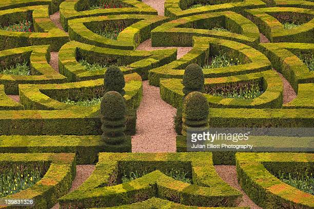 The maze like hedges at the chateau of Villandry in France. The castle is part of the historic Loire Valley, which is protected by UNESCO.