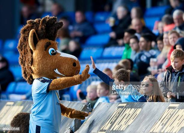 The McAnders Randers FC mascot shake hands with young fans during the Danish Alka Superliga match between Randers FC and Sonderjyske at BioNutria...