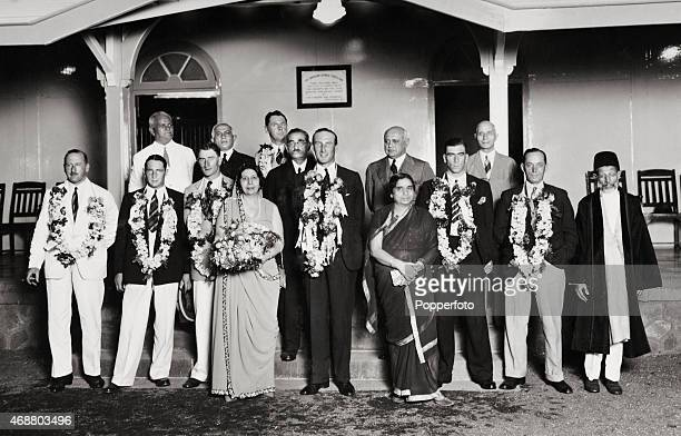 The MCC England cricket team are welcomed to Bombay with a lavish dinner at the Parsee Gymkhana, 11th December 1933. Back row : Dr ME Pavri, The...