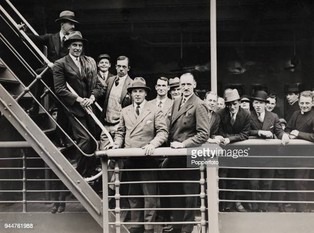 The MCC England cricket team at Tilbury docks, boarding the RMS Narcunda for the tour to India, Burma, and Ceylon on 24th September 1926. Identified...