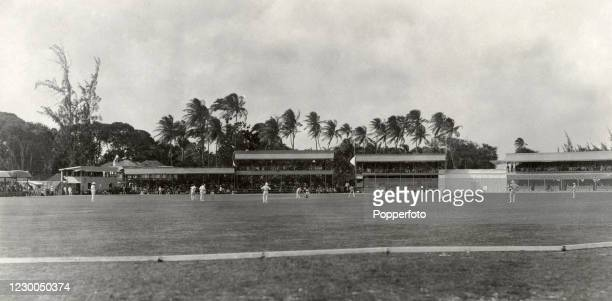 The MCC England cricket team batting on the first day of their match against the West Indies at the Kensington Oval in Bridgetown, Barbados on 8th...