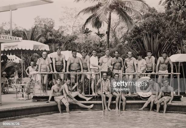 The MCC England cricket team gathered for an informal group photograph beside the swimming pool at the Hilton Hotel in Port of Spain Trinidad 13th...
