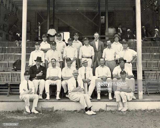 The MCC England cricket team prior to their match against the West Indies at Queen's Park Oval in Port of Spain, Trinidad, circa 30th January 1926....