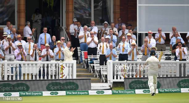 The MCC members applaud Jack Leach of England as he walks back to the pavilion after being dismissed by Tim Murtagh of Ireland during day two of the...