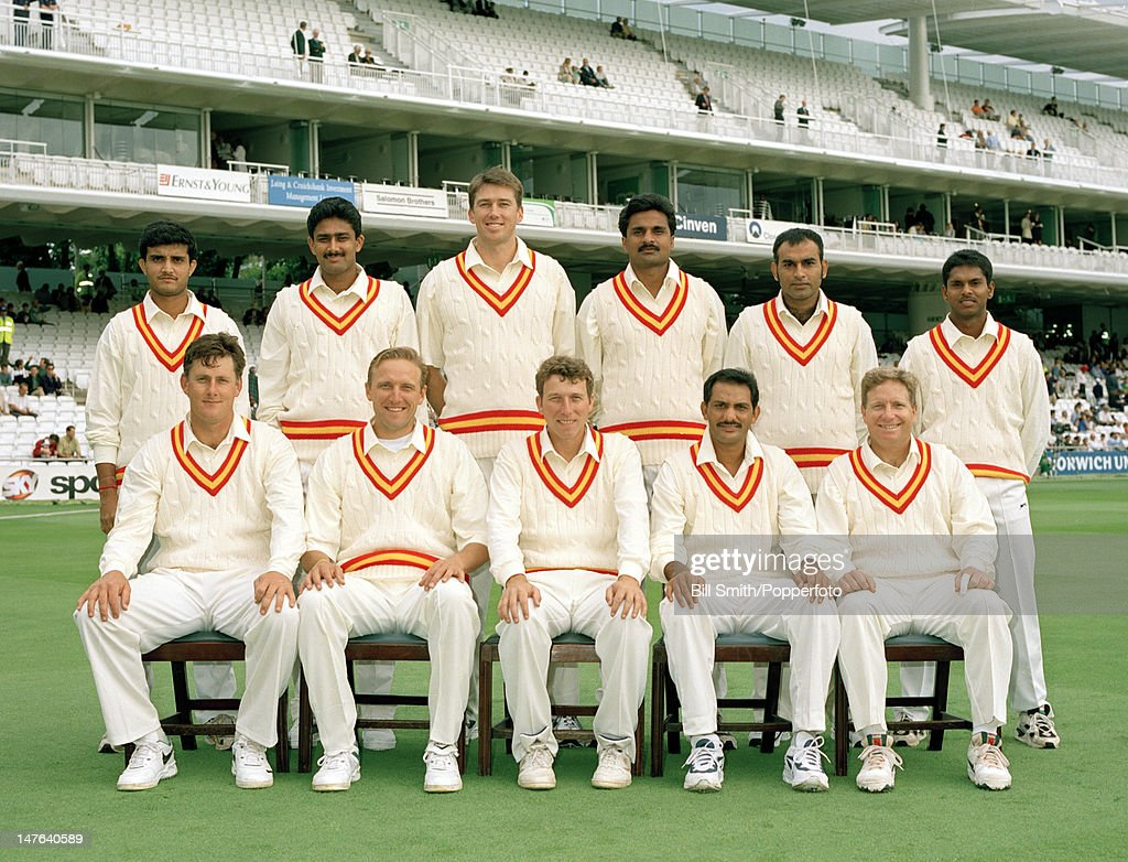 The MCC team prior to the Memorial match for Diana, Princess of Wales, between MCC and the Rest of the World XI at Lord's cricket ground, 18th July 1998. The Rest of the World XI won by six wickets. Back row (left-right): Sourav Ganguly, Anil Kumble, Glenn McGrath, Javagal Srinath, Aamir Sohail, Shivnarine Chanderpaul. Front row: Brian McMillan, Allan Donald, Michael Atherton, Mohammad Azharuddin and Ian Healy.