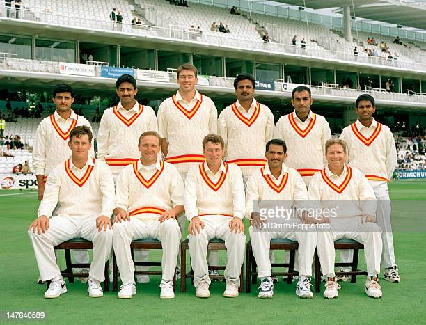 The MCC team prior to the Memorial match for Diana Princess of Wales between MCC and the Rest of the World XI at Lord's cricket ground 18th July 1998...