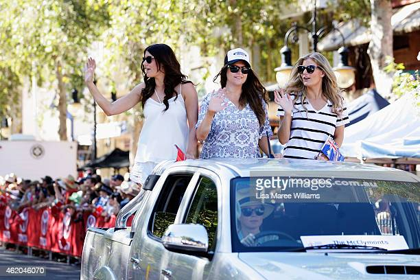 The McClymonts Mollie McClymont Brooke McClymont and Samantha McClymont take part in the 43rd Tamworth Country Music Festival Calvalcade along Peel...