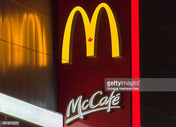 DOWNTOWN TORONTO ONTARIO CANADA The McDonald's logo and signage of McCafe outside the McCafe restaurant in Toronto McCafe is a coffeehousestyle food...