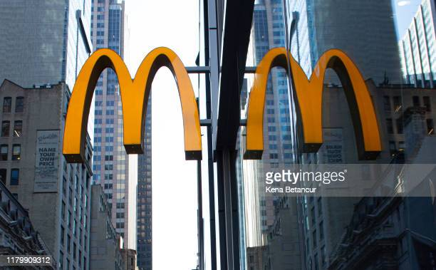 The McDonald's logo is displayed on a restaurant following the firing of their CEO, Steve Easterbrook on November 4, 2019 in New York City....